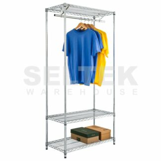 Chrome Wire Garment Shelving With Storage