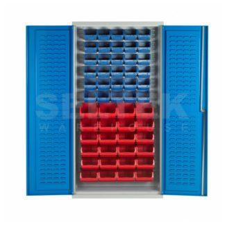 Plastic Bin Storage Cabinet - Louvre Back