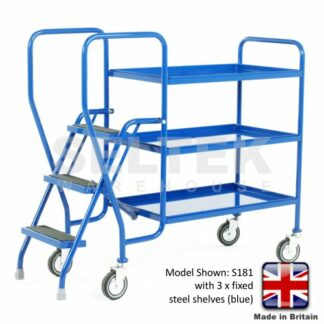 Step Trolley with Fixed Blue Shelves