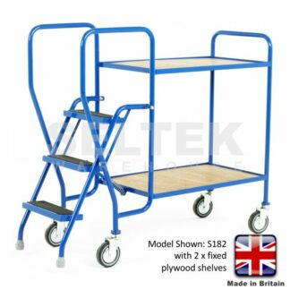 Step Trolley with Fixed Plywood Shelves