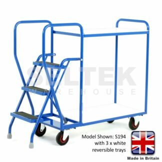 Step Trolley with Removable White Tray Shelves