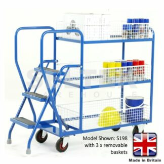 Step Trolley with Removable Basket Shelves