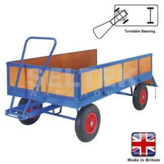 Hand Pulled Trailer - Turntable Steering - 4 Sides - 1000Kg