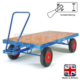 Hand Pulled Trailer - Turntable Steering - Flat Bed - 1000Kg