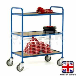 Tray Trolley - 3 Tier Fixed Plywood Shelves - 200Kg