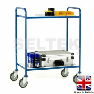 Tray Trolley - 2 Tier Removable White Trays - 200Kg