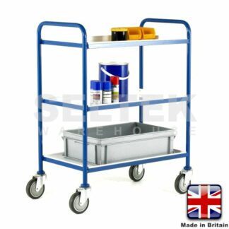 Tray Trolley - 3 Tier Removable White Trays - 200Kg