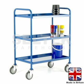 Tray Trolley - 3 Tier Removable Blue Trays - 200Kg