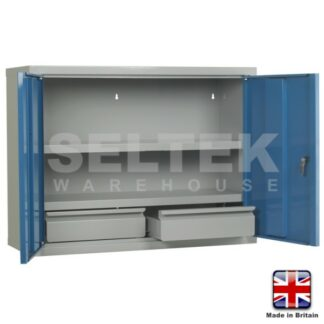 Steel Wall Cupboard - 800mm Wide - 2 Internal Drawers