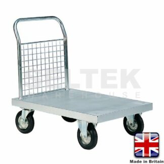 Zinc Plated Platform Truck with Single Mesh End - 700Kg