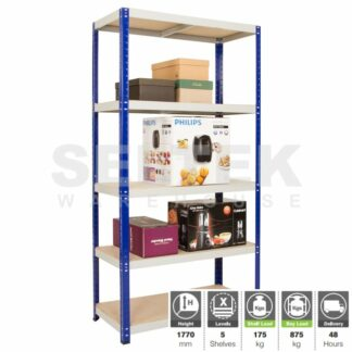 Clicka Boltless Shelving - 5 Shelves - Blue/Grey - 875Kg