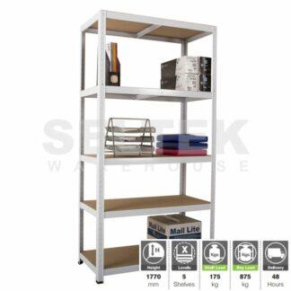 Clicka Boltless Shelving - 5 Shelves - White - 875Kg