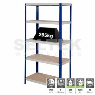 Clicka Boltless Shelving - 5 Shelves - Blue/Grey - 1325Kg