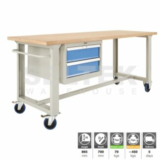 Premium Mobile Workbench 450Kg with 2 drawer unit