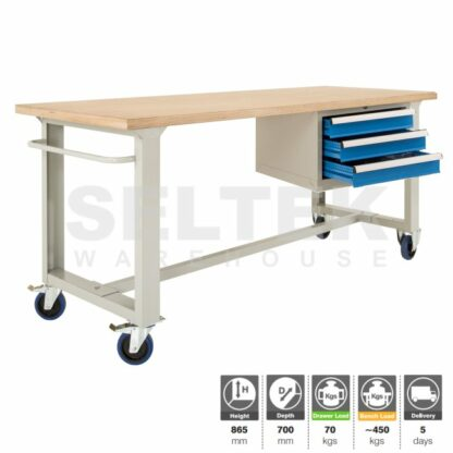 Premium Mobile Workbench 450Kg with 3 drawer unit