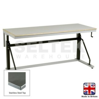 Adjustable Cantilever Workbench - Stainless Top - 300Kg