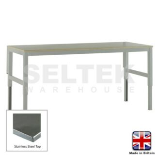 Workbench - Height Adjustable - Stainless Steel Top - 300Kg